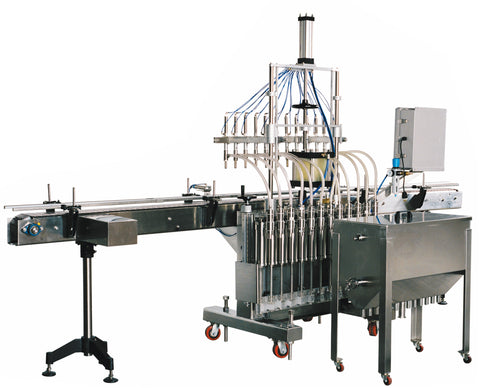 Automatic inline piston filler machine, high viscocity liquid products, 30 gallons tank, model PI3100, by Acasi Machinery Inc., left and rear view