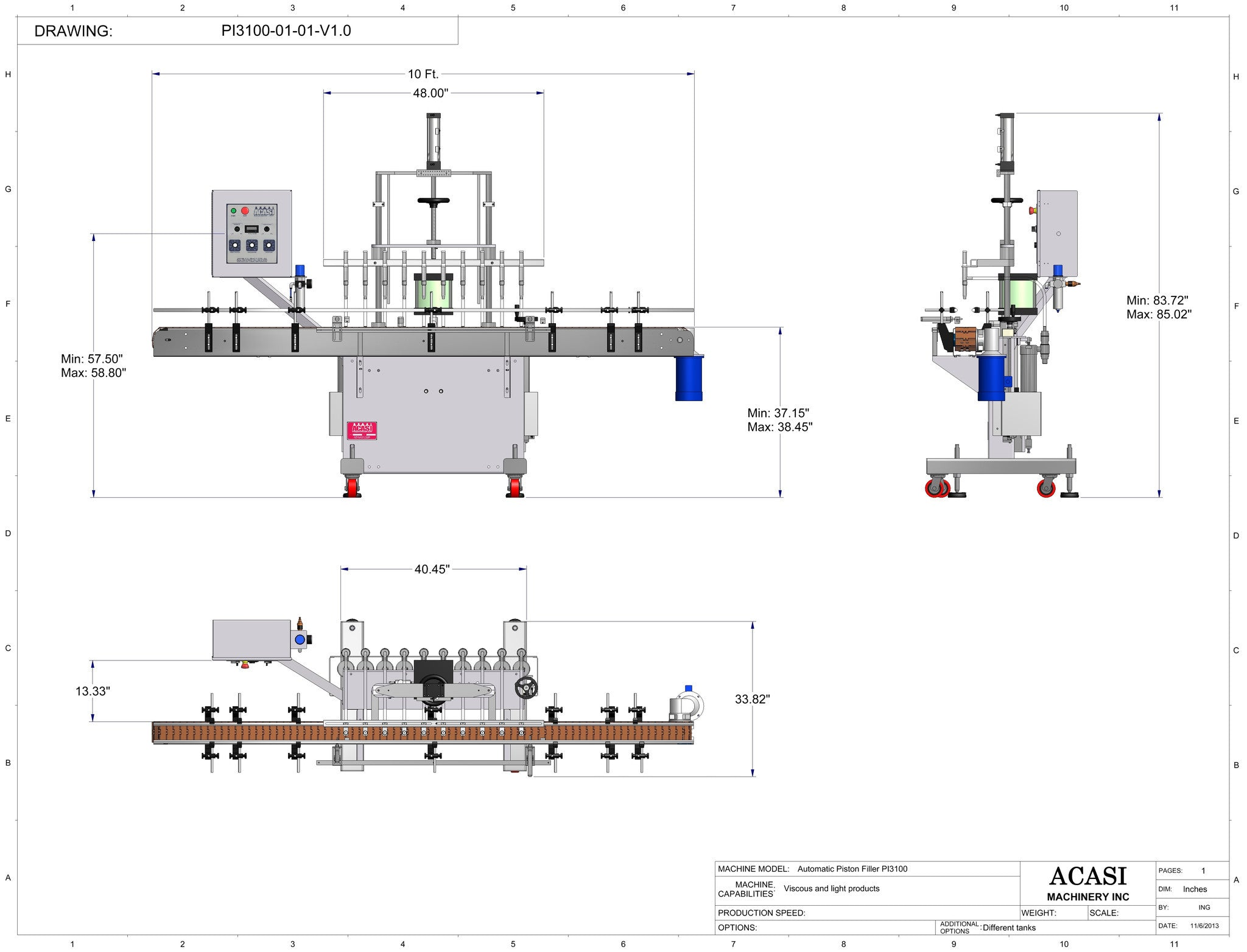 Automatic inline piston filler machine, high viscosity