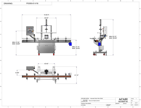 Automatic inline piston filler machine, high viscosity liquid products, Model PI3300 dimensions, by Acasi Machinery Inc.