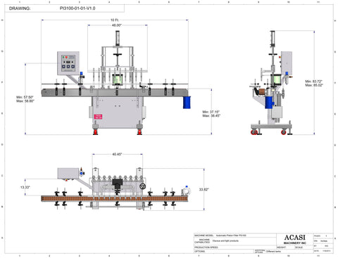 Automatic inline piston filler machine, high viscosity liquid products, Model PI3100 dimensions, by Acasi Machinery Inc.