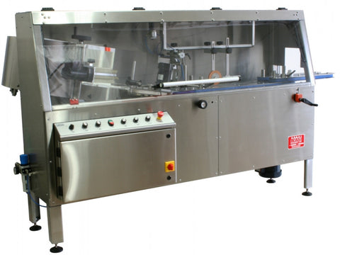 Automatic plastic and metal bottle unscrambler machine with 48 inches bowl, model TruSort-48, by Acasi Machinery Inc., front and left view