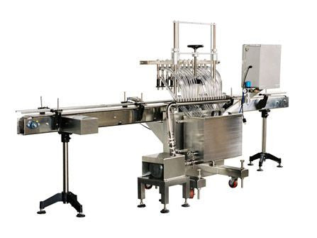 Automatic inline pressure overflow bottle filler machine, low viscosity, model GI3300, by Acasi Machinery Inc., rear and left view