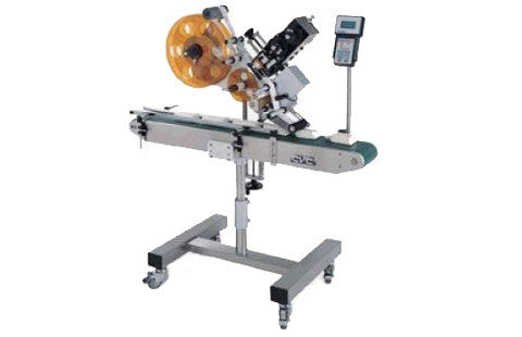 Automatic inline top labeler machine, model CVC 200, by Acasi Machinery Inc.