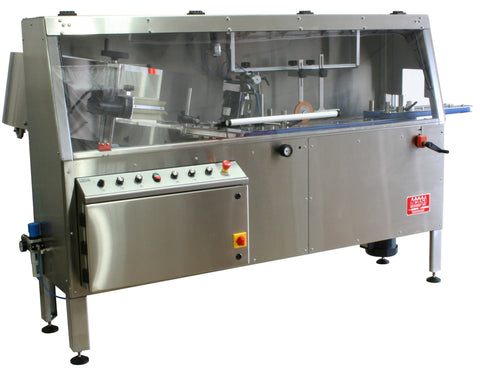 Automatic plastic and metal bottle unscrambler machine with Inverted cleaning and ionizing, model TruSort, by Acasi Machinery Inc., left and front view