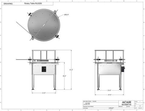 Automatic unscrambling rotary table, model RU3200 dimensions, by Acasi Machinery Inc.