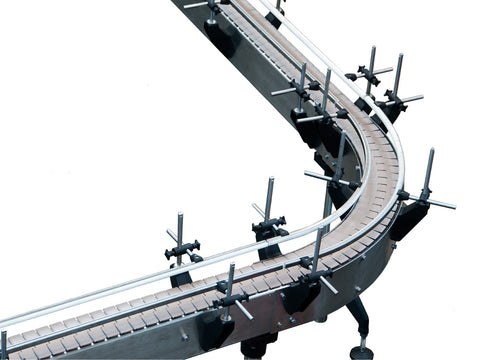 Automatic variable speed power curve and custom bottle Conveyor, by Acasi Machinery Inc., detail 24 inches radius curve view