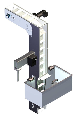 Variable speed floor level cap elevator, model CF1100, by Acasi Machinery Inc., front and left view