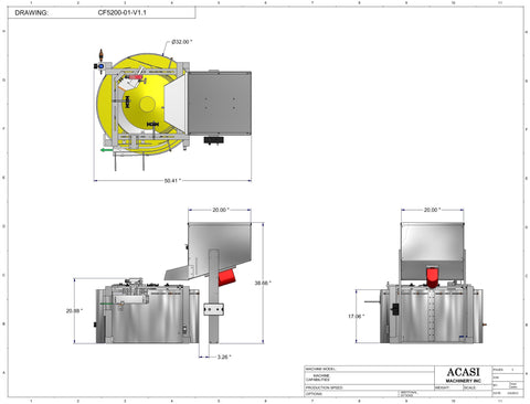 Centrifugal cap feeder sorter, model CF 5200 dimensions, by Acasi Machinery Inc.