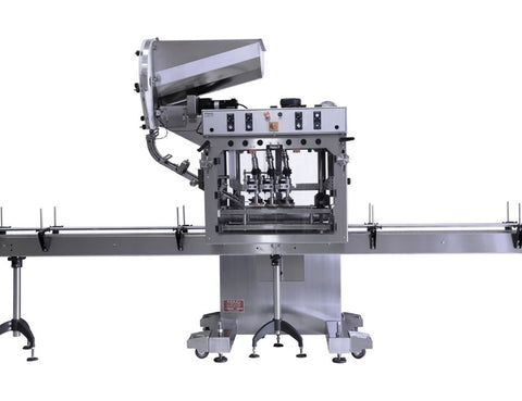 Automatic inline bottle capping machine with vertical wheel cap sorter, model - Trucap-X-Vert, by Acasi Machinery Inc., front view