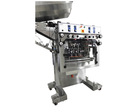 Automatic inline bottle capping machine with vertical wheel cap sorter, model - Trucap-X-Vert, by Acasi Machinery Inc., left and front view