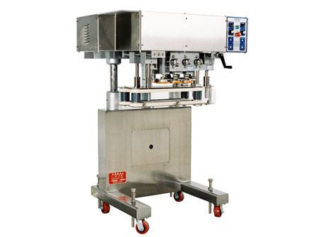 Inline capping machine for a wide range of containers and caps, model CS5200, by Acasi Machinery Inc., left and front view