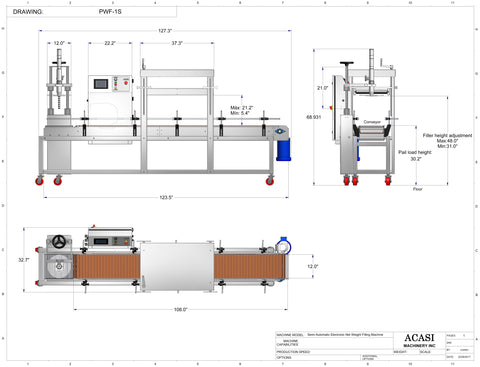 Semi-Automatic Electronic Net Weight Filling Machine - Model PWF-1S Drawings