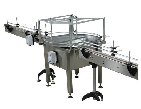 Automatic rotary mid overflow backup table, model RM3200, by Acasi Machinery Inc., front and right view