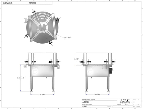 Rotary Mid Overflow Backup Table Model RM 3200 Drawings