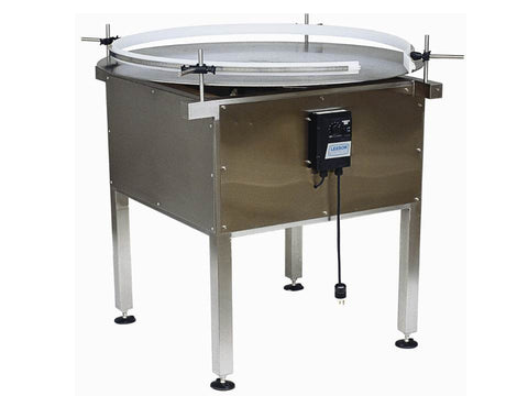 Rotary table for bottles accumulation, model RA3200, by Acasi Machinery Inc., front an left view