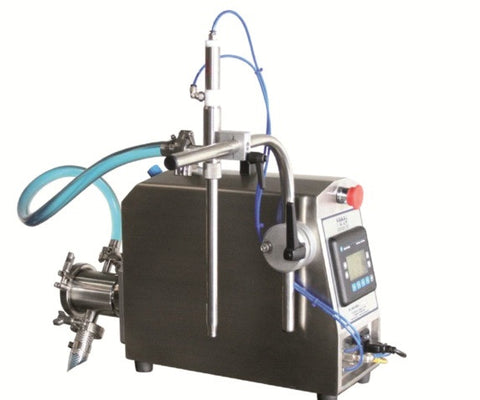 Semi-Automatic Pump Filler, Model PU1000, by Acasi Machinery Inc., front and left view