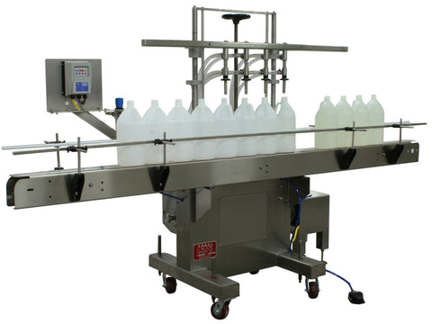 Semi-automatic inline pressure overflow filler machine, model GIS 3300, by Acasi Machinery Inc., front and left view