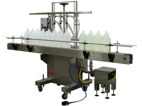 Semi-automatic inline pressure overflow filler machine, model GIS 3300, by Acasi Machinery Inc., front and right view
