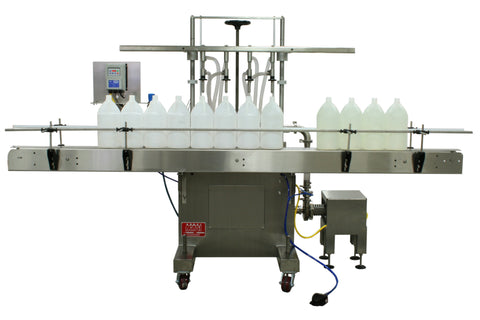 Semi-automatic inline pressure overflow filler machine, model GIS 3300, by Acasi Machinery Inc., front view.