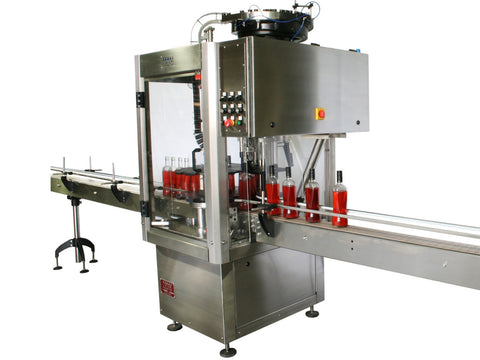 Single head ROPP bottle capper with vibratory feeder; model ROP1-VIB, by Acasi Machinery, Inc., front and right view