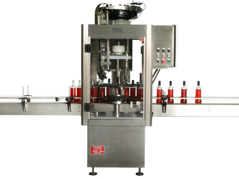 Single head ROPP bottle capper with vibratory feeder, model ROP1-VIB, by Acasi Machinery Inc., front view