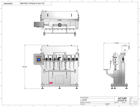 Automatic inline 8 pistons filler machine high-precision, model Trupiston dimensions, by Acasi Machinery Inc.
