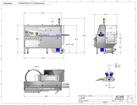 Bottle Unscrambler - Model TruSort-32 Drawings, by Acasi Machinery Inc.