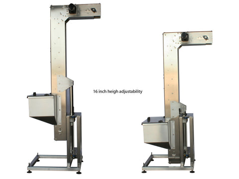 Variable speed floor level cap elevator, model 370-000, by Acasi Machinery Inc., left view.