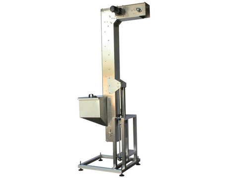 Variable speed floor level cap elevator, model 370-000, by Acasi Machinery Inc., left and front view.