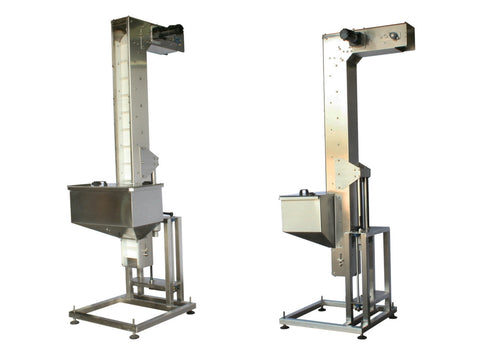 Variable speed floor level cap elevator, model 370-000, by Acasi Machinery Inc., left and rear view.