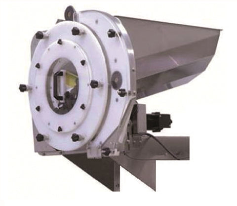 Vertical wheel cap feeder, model CF 7000, by Acasi Machinery Inc., front and right view