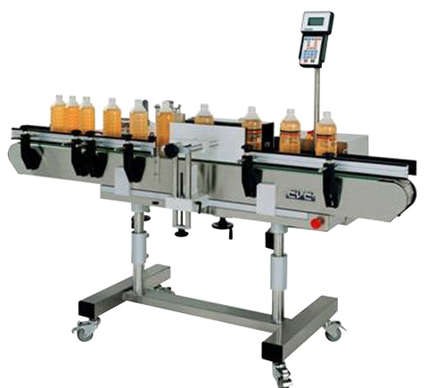Vertical wrap around labeling system, model 300C, by Acasi Machinery Inc.