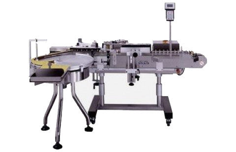 Vial/Ampoule Wrap Labeler with rotary feed table, model 330, by Acasi Machinery Inc.