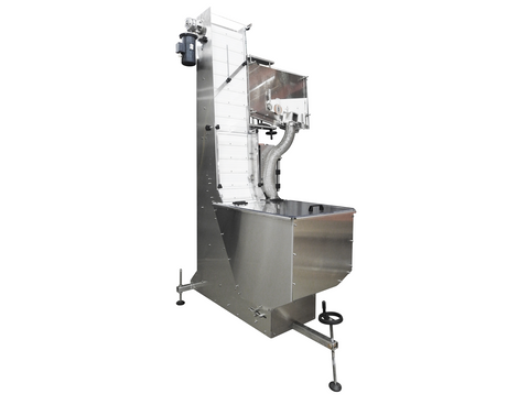 Waterfall cap feeder and sorter with reject option, model 800-000, by Acasi Machinery Inc. front and left view