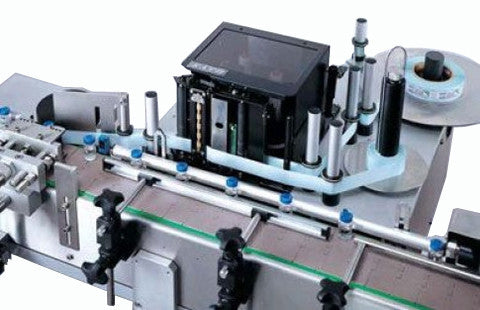 Wrap around labeler with print & apply system for round containers, model 342, by Acasi Machinery Inc.