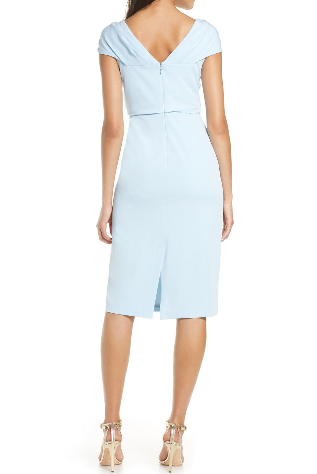 Knee-Length Dress with Pleated Bodice