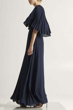 Pleated Cape Gown