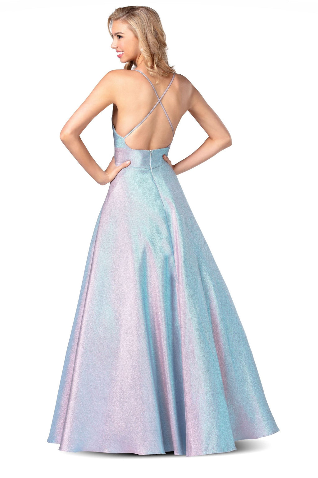 Long Two Tone Shimmer Gown
