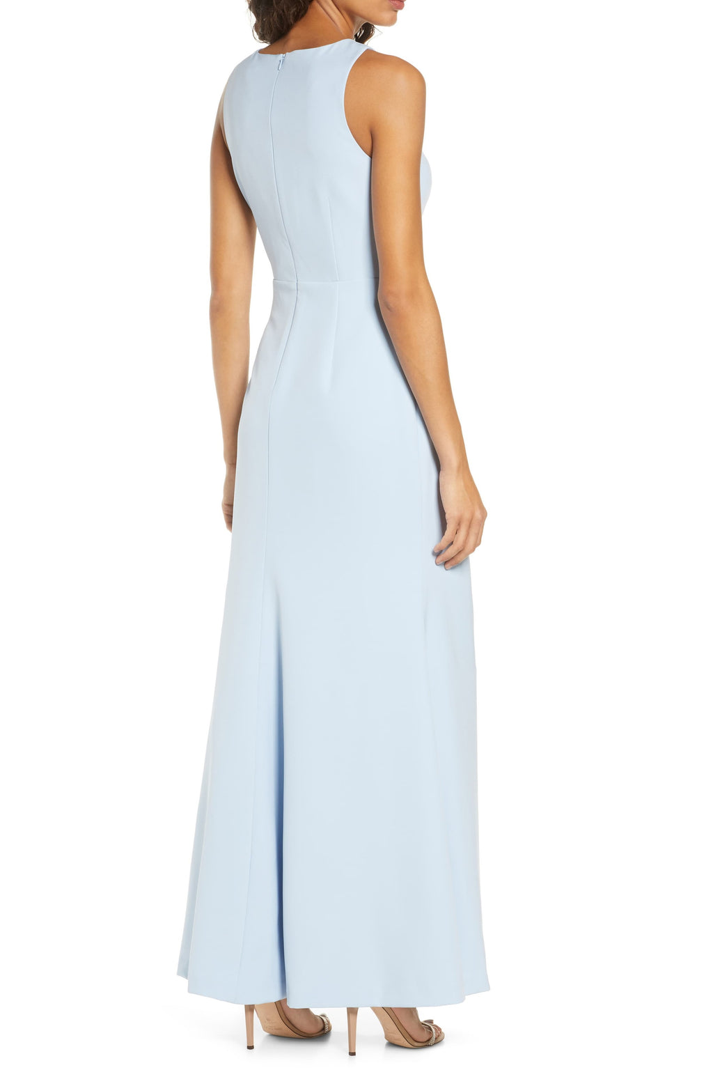 Sleeveless Ruffle Slit Gown