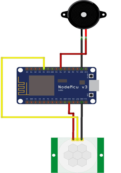 NodeMCU and PIR Sensor Circuit Diagram