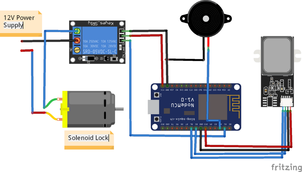 Circuit Diagram for Smart Door Lock using Fingerprint Sensor and NodeMCU