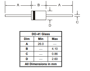 Mechanical Drawing of 1N4728A