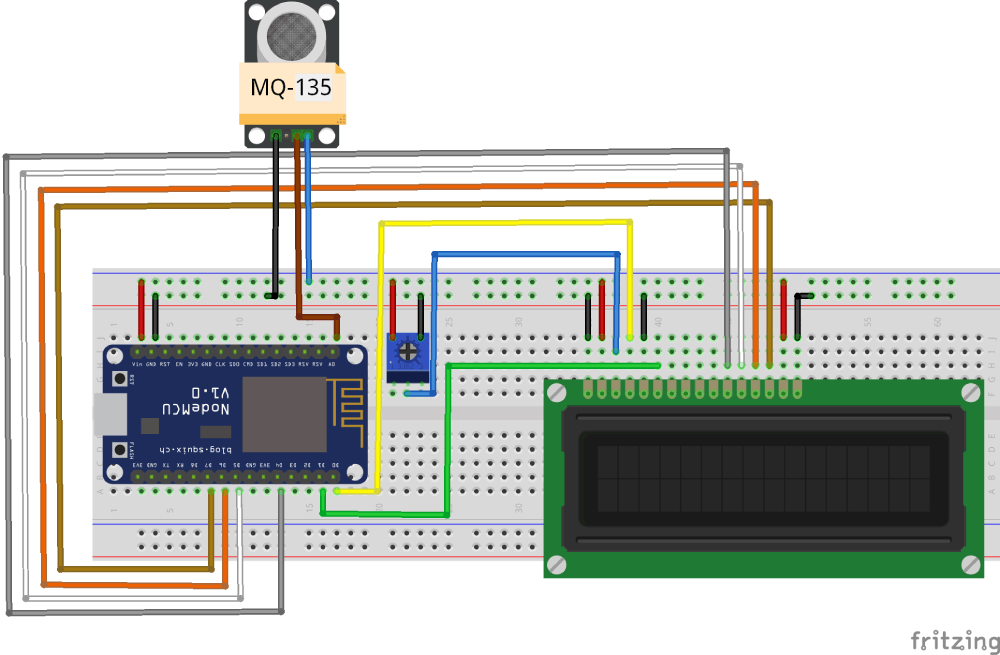 NodeMCU IoT Air Pollution Monitoring System Circuit Diagram