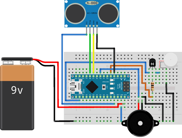 Arduino Smart Blind Stick Circuit Diagram