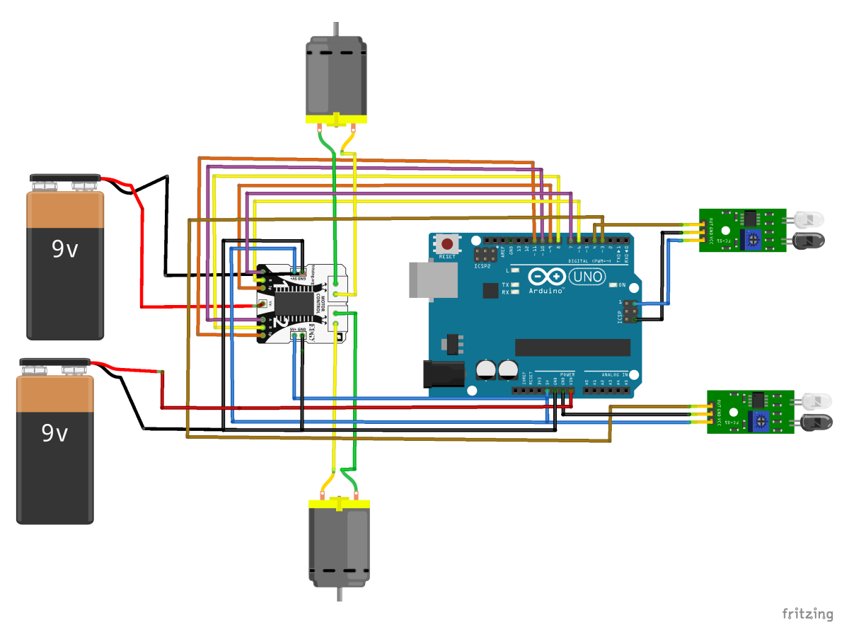 Arduino Uno Line Follower Robot Circuit Diagram