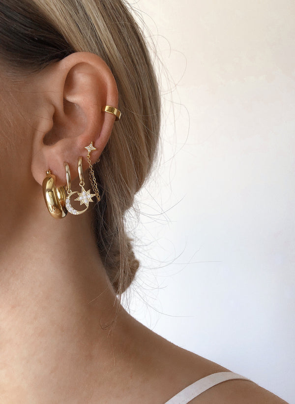 Meideya Jewelry - ear stack with star chain earring