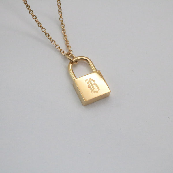 Aine Old English Initial Lock Necklace
