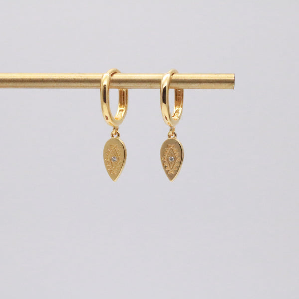 Dangle hoop earrings in 18k gold vermeil
