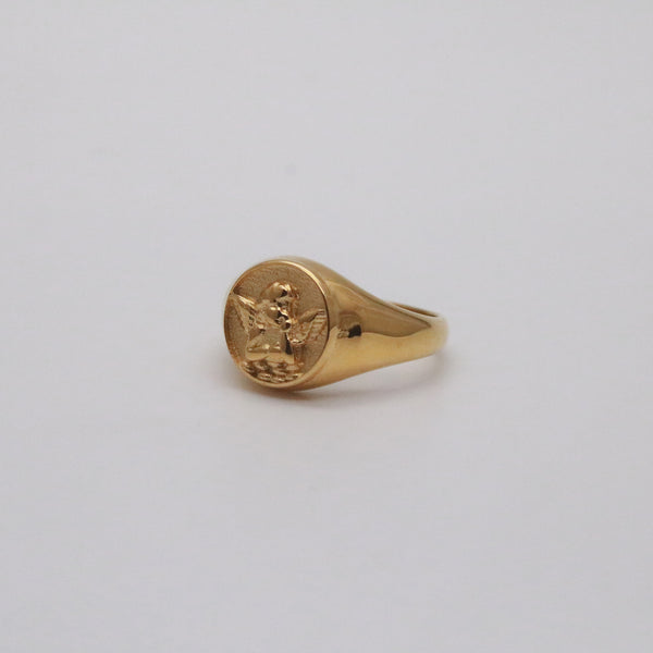 Angel signet ring