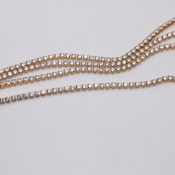 2mm gold tennis necklace